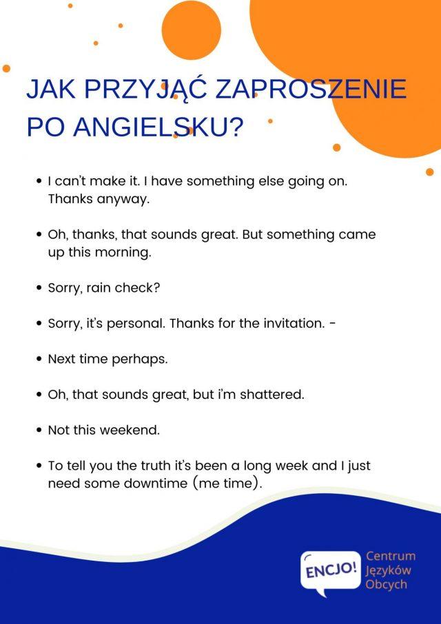 przyjmowanie zaproszenia po angielsku