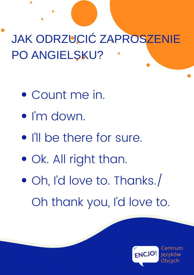 jak odrzucić zaproszenie po angielsku